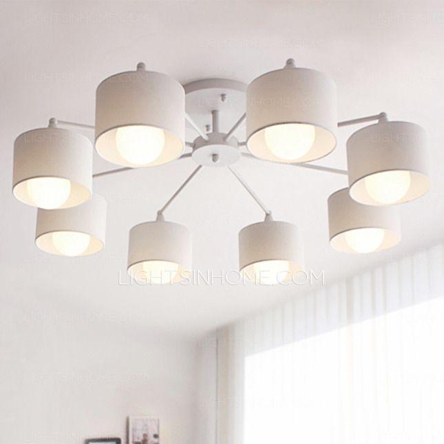 Simple 8 Light E26 E27 White Flush Mount Ceiling Light Living