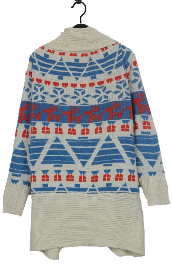 Blue Deer and Snowflake Cardigan Sweater