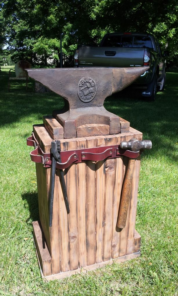 Anvil stand idea would make circle and use metal for strapping to hold tools. Also has vinegar stain idea.