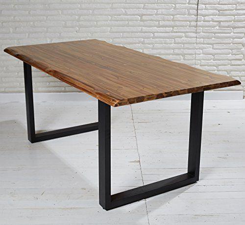 Esstisch massiv 180x90 cm Akazie Metall Echtholz Tisch mit