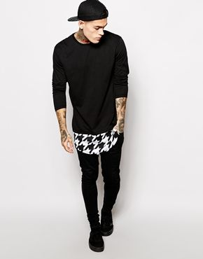 376ebf34bedb Enlarge ASOS Long Sleeve T-Shirt With Houndstooth Print In Super Longline  Black Outfit Men