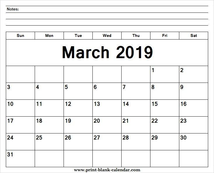 Printable 2019 March Calendar Pretty Printblank Pinterest