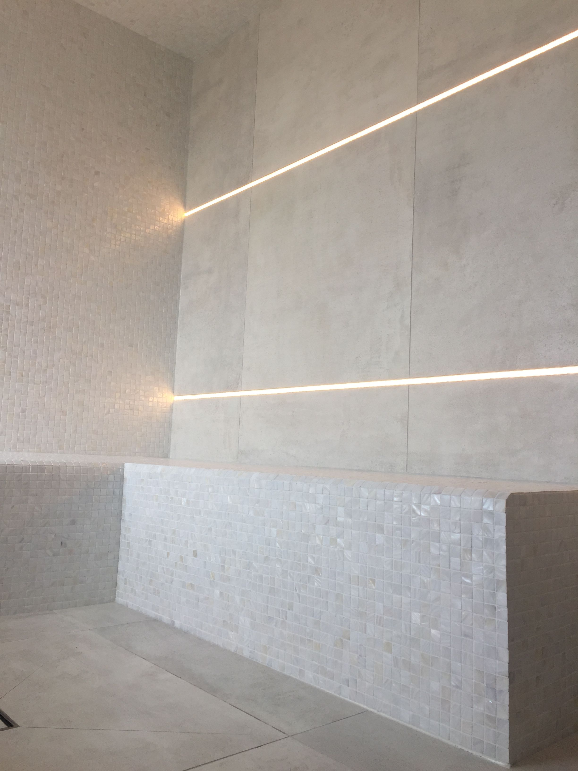 Steam Room Details Mosaic Seat Large Format Wet Floor Illuminated Lighting Embedded Into Wall Tiles Bathroom Design Luxury Steam Room Room Tiles