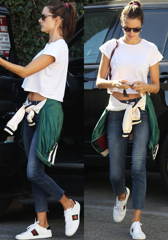 c8ab46bc424 Low-Key Alessandra Ambrosio Wears Embroidered Gucci  Ace  Sneakers ...