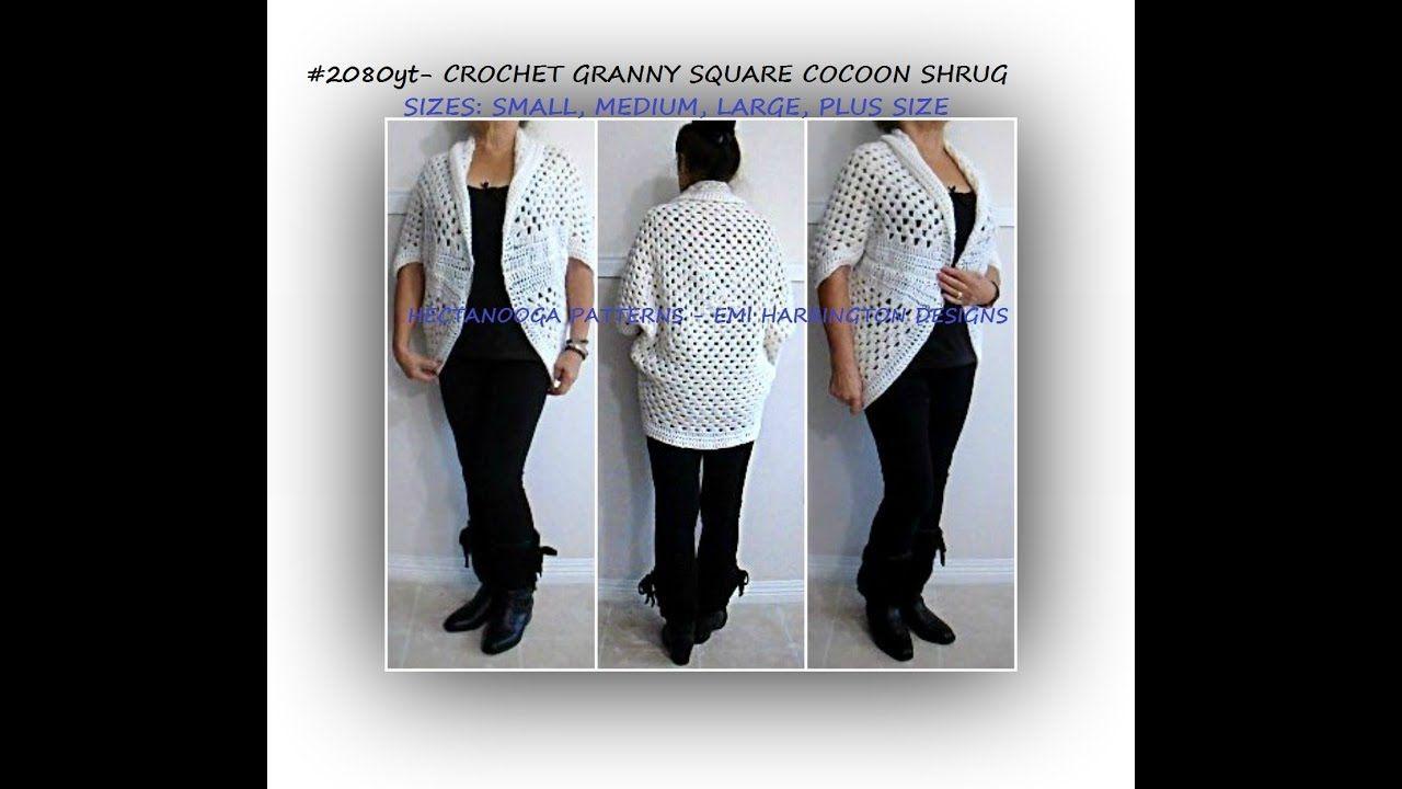 CROCHET GRANNY SQUARE cocoon shrug cardigan sweater - Small - Plus ...