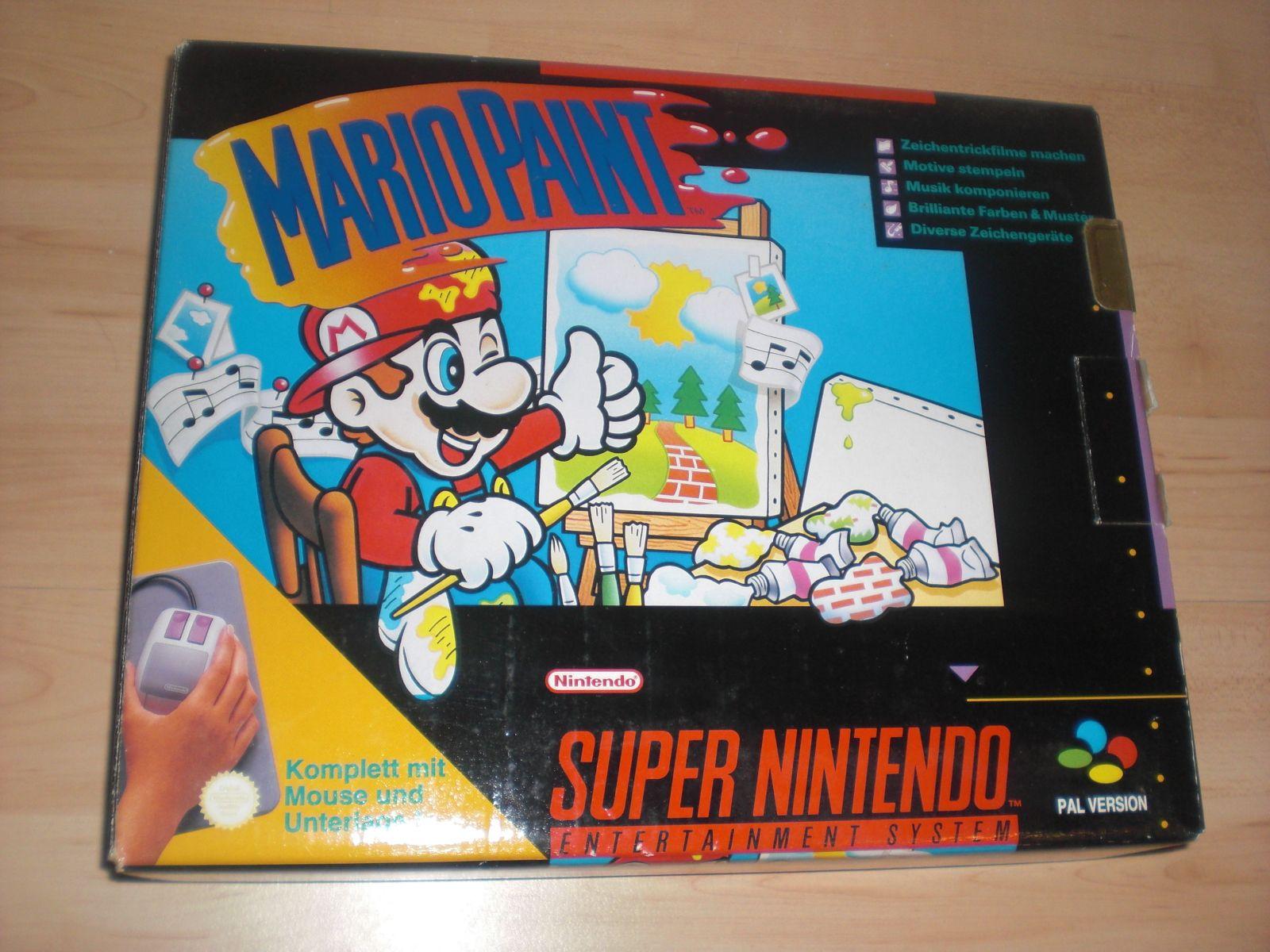 Mario Paint Boxed Cib Super Nintendo Game Snes With Mouse And Pad Super Nintendo Super Nintendo Games Paint Games