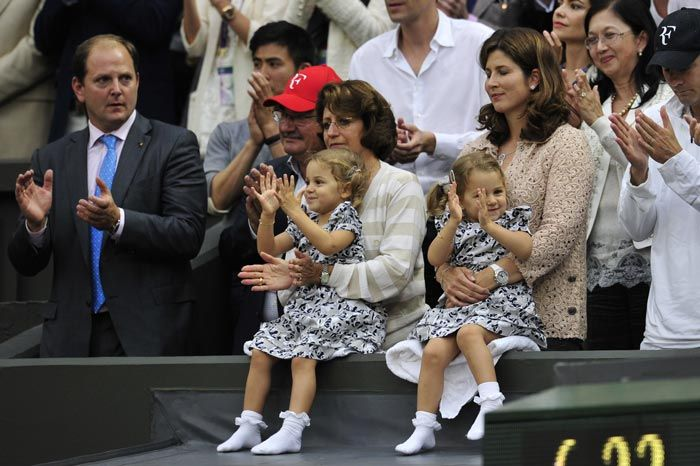 As Roger Federer lifted his seventh Wimbledon title, he had some special fans cheering from the stands. His twin daughters Myla Rose and Charlene Riva were seen applauding their 'Daddy Dearest' from the family box during his final match against Andy Murray. Also present was Fedex's wife Mirka.