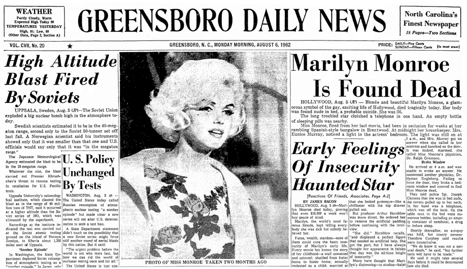 An article about the death of Marilyn Monroe, published in ...