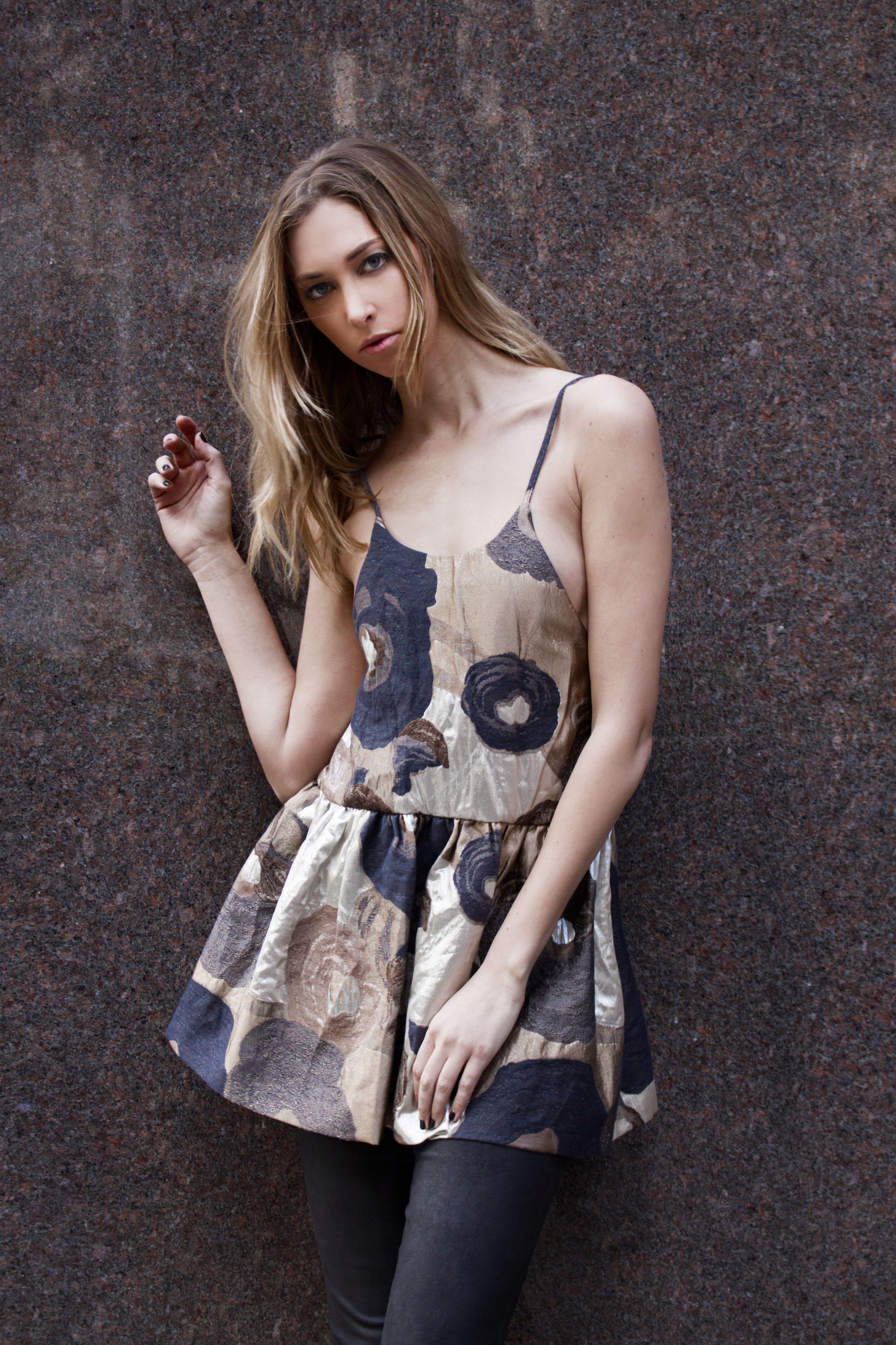 Erika Cavallini Metallic Floral Brocade Dakota Peplum Top FW15  #ErikaCavallini #Floral #Brocade #Peplum