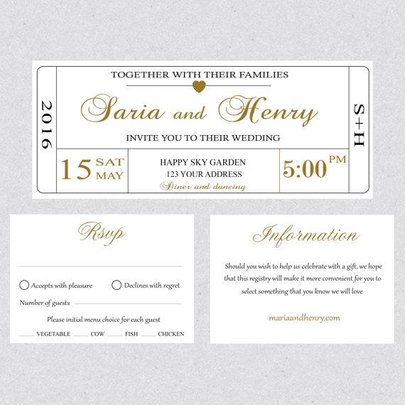 Printable Wedding Invitation Ticket Template Card Editable