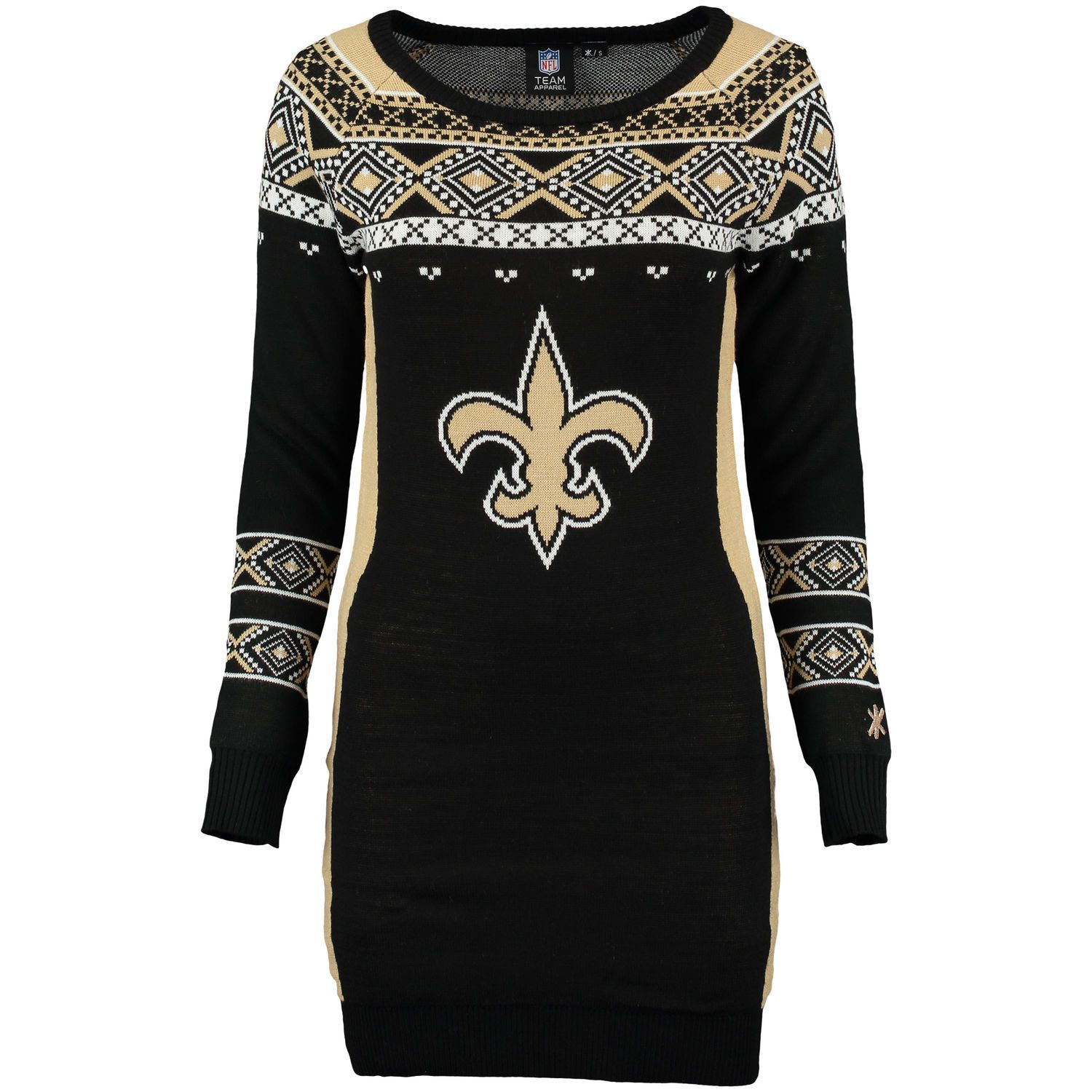 New orleans saints klew womenus big logo ugly sweater dress black