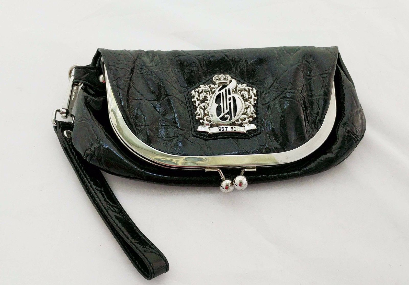 Guess Black Faux Patent Leather Clutch Fold Over Purse 9 In Handbag Small 29 88