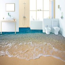 Custom 3d Beach Sea Water Living Room Bedroom Bathroom Floor Mural Paintings Self Adhesive Vinyl Wallpaper H 3d Bodenbelag Badezimmer Tapete Farben Und Tapeten