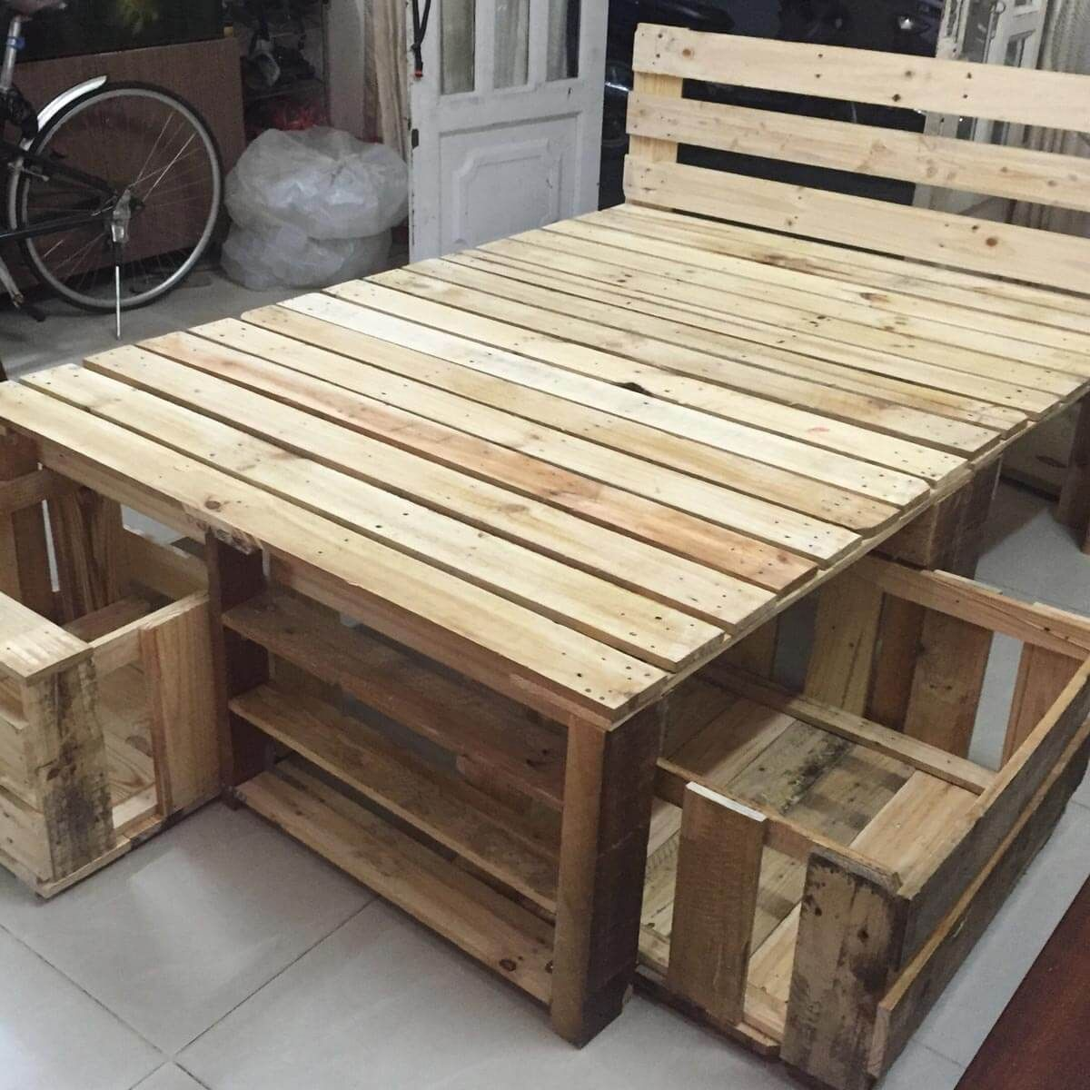 Pallet Bed Frame With Storage Pallet Furniture Bed Pallet Furniture Bedroom Pallet Bed Frames