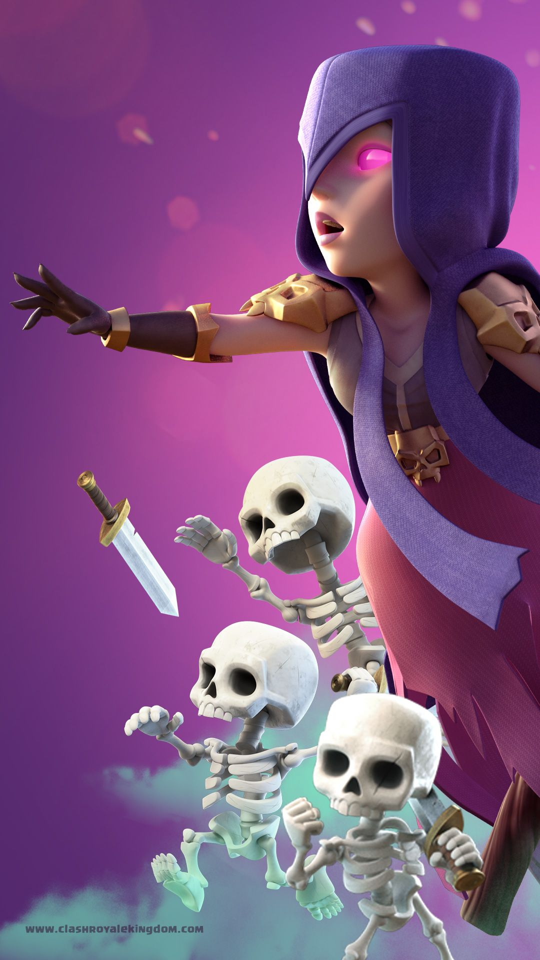 The Skeletons Were Born Inside Her Her Pink Eyes Keep Her Beauty Still Download High Quality Clash Clash Royale Wallpaper Clash Royale Drawings Clash Royale