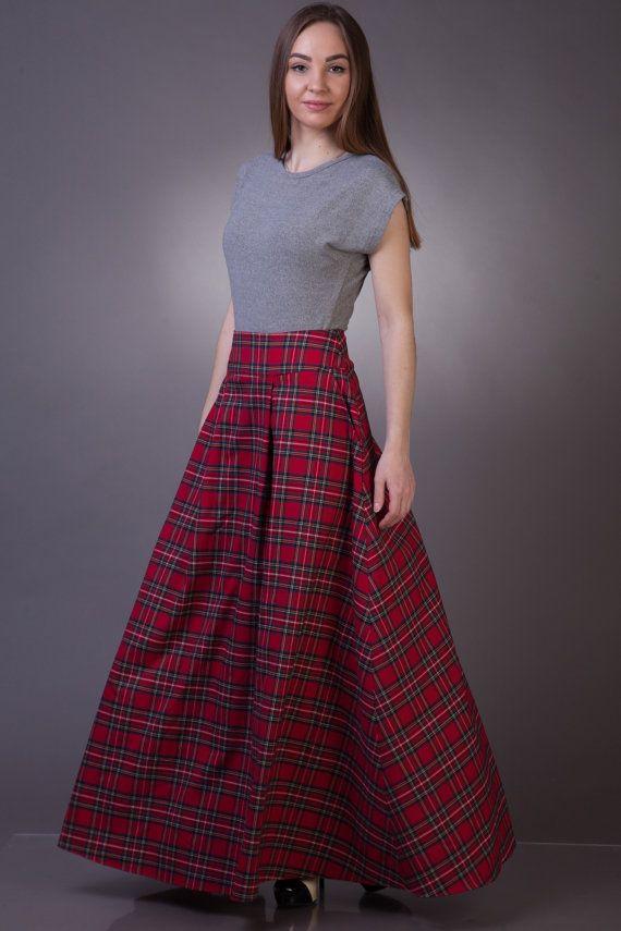 12d99b9c2d Verkauf Tartan langer Rock mit Taschen Tartan Maxirock lang. Long skirt  with pockets from red plaid ...