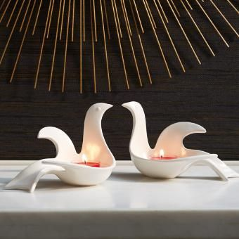 www.partylite.biz/alvita  Graceful and modern, Adler's mirror image sculptural doves can face each other to mimic a heart shape. For use with tealights