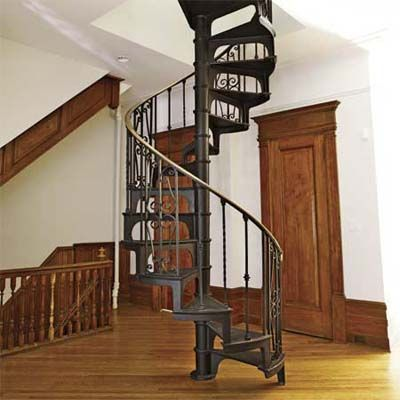 Salvaged Spiral Staircase Installed On Open Landing Area   Up To The Attic!