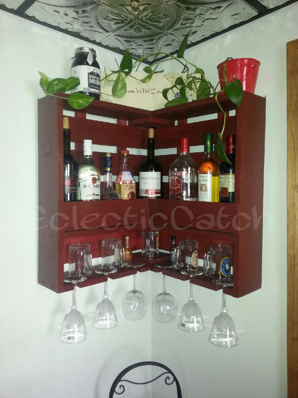 Handmade Handcrafted Wine Rack Liquor Rack Marsala Wine Glass Holder Wine Storage Unique Corner Wall Hanging Wine Vinnaya Polka Domashnij Dekor Idei Dlya Hraneniya
