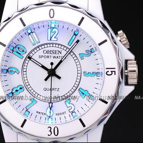 Women's White Luxury Waterproof Sports Watches 7 Multi-color Led Light Clock Watch