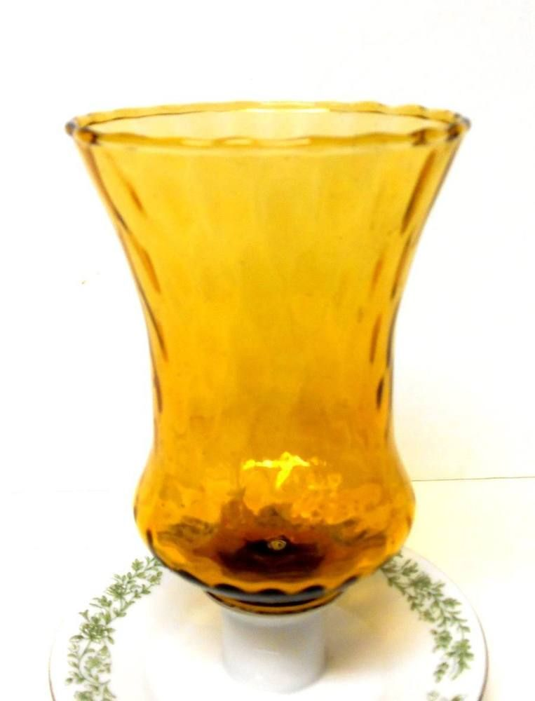 Home Interiors Amber Gold Gl Votive Candle Sconce Cup Peg With Grommet