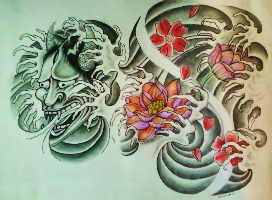 Hannya Mask Lotus Flower Cherry Blossom By 814ck5t4r On Deviantart Lotus Tattoo Design Samurai Tattoo Design Traditional Tattoo