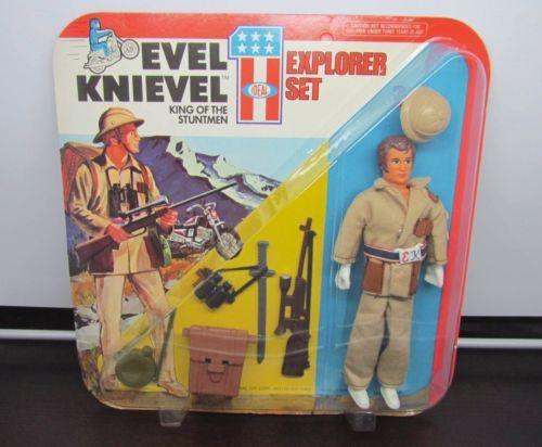 VINTAGE 1975 EVEL KNIEVEL STUNTMEN EXPLORER SET IDEAL New MOC #3420-7 Unpunched