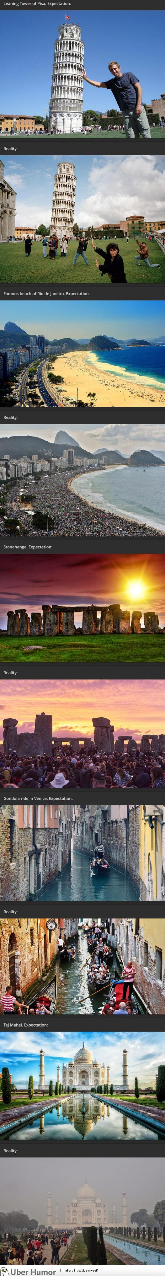 Travel expectations VS Reality by uberHumor.com | Find more interesting stories on the web here → http://curated.fyi/