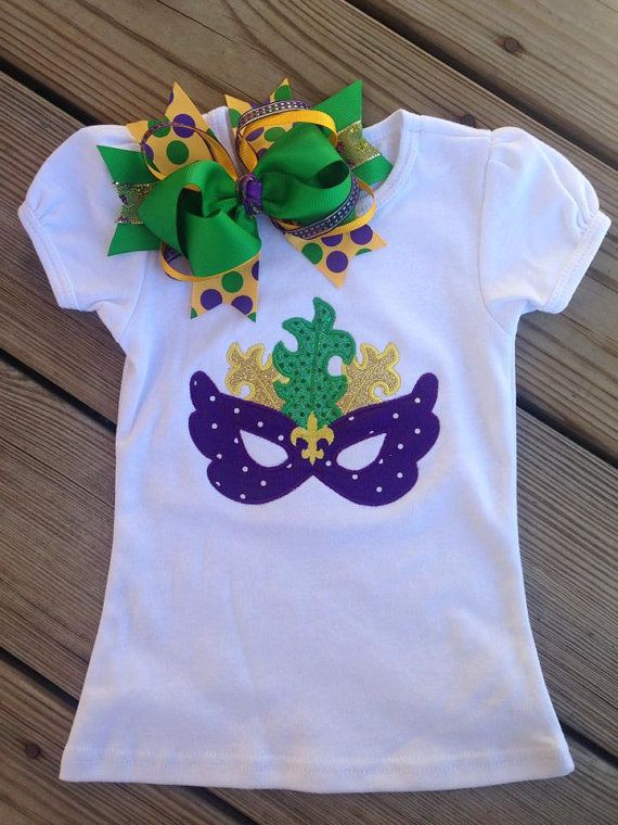 Mardi Gras niñas Applique camisa por LandryCreationsGifts en Etsy