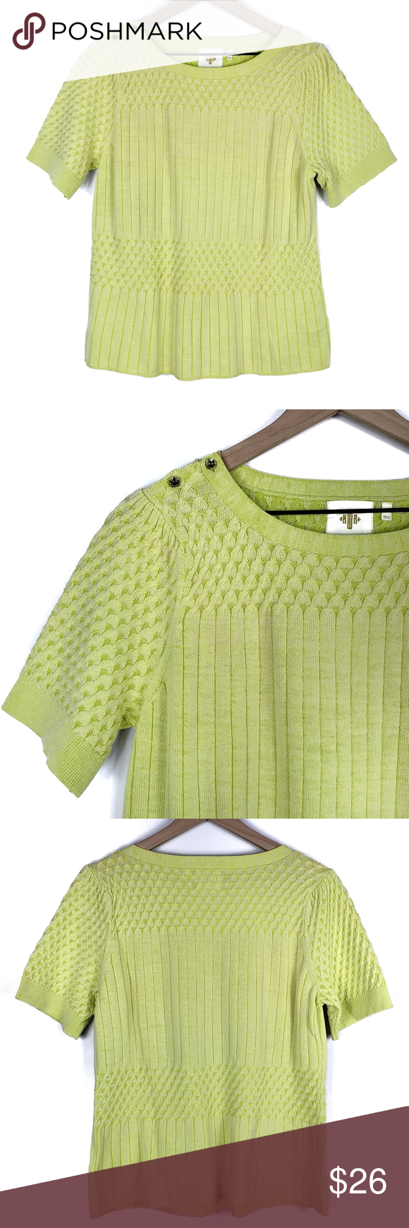 Anthro HWR Monogram Short Sleeve Sweater Neon yellow short sleeve sweater. Crew neck. Two button detail at the right shoulder. Ribbed, textured knit. Pullover styling. HWR Monogram by Anthropologie. In excellent, pre-owned condition. No flaws. Underarm to underarm:22