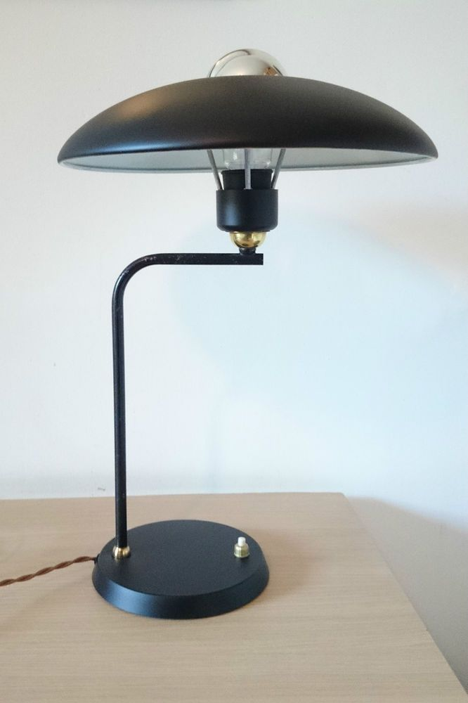 1950s vintage philips black ufo desk lamp louis kalff eames stilnovo arteluce in antiques ebay