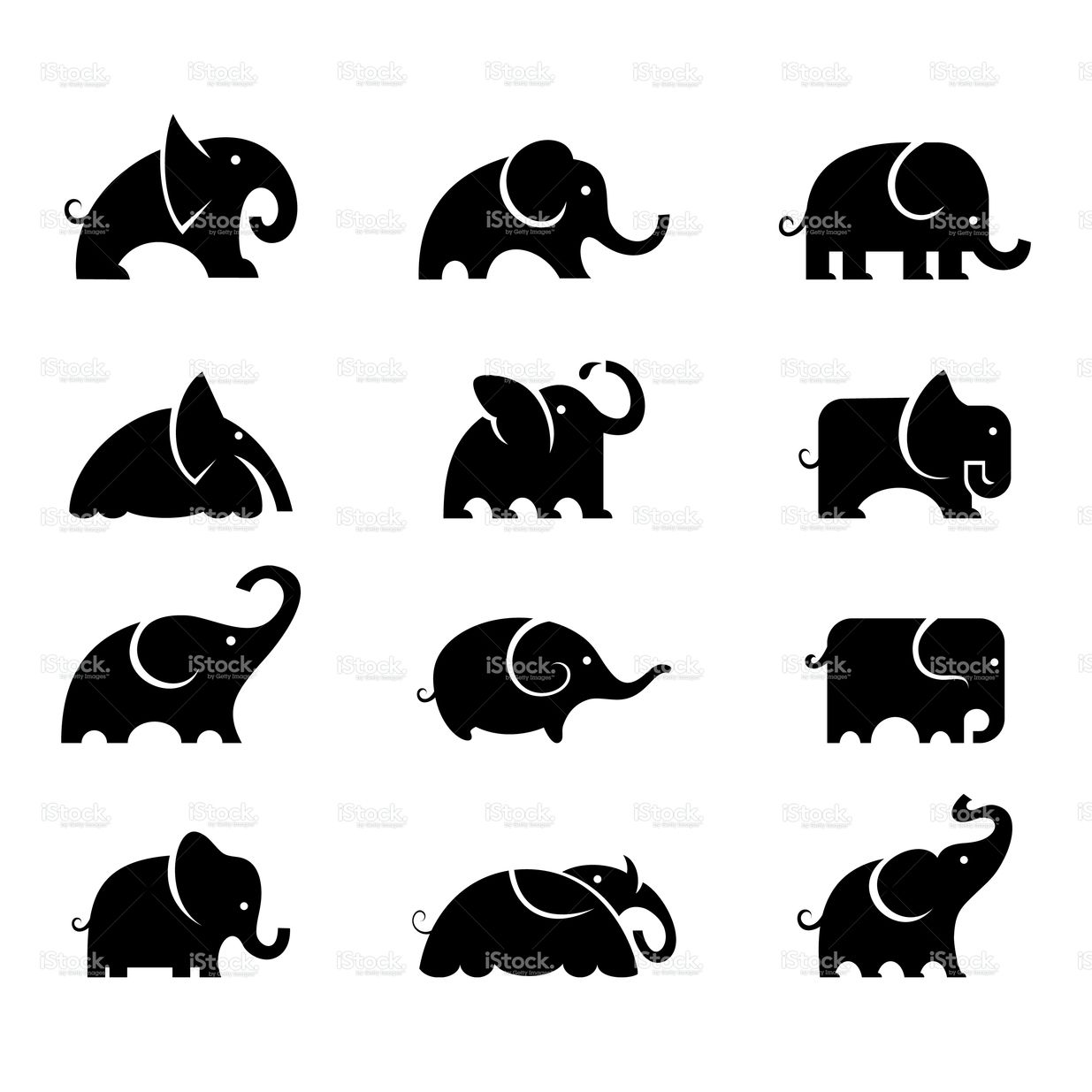 Set Of 12 Elephants Illustrations