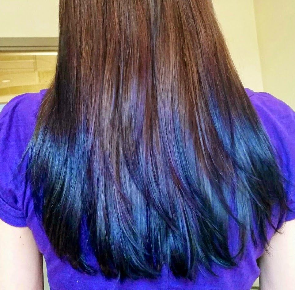 Peacock Inspired Ombre Subtle Manic Panic Blue And Purple Dyed