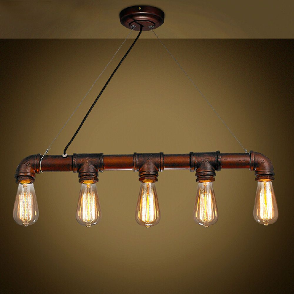 Industrial Steampunk Ceiling Light Hanging Lamp Iron Pipe Fixture Pendant Light Home Furniture Diy Lighting Ceiling Lights Chandeliers E Pipe Lighting