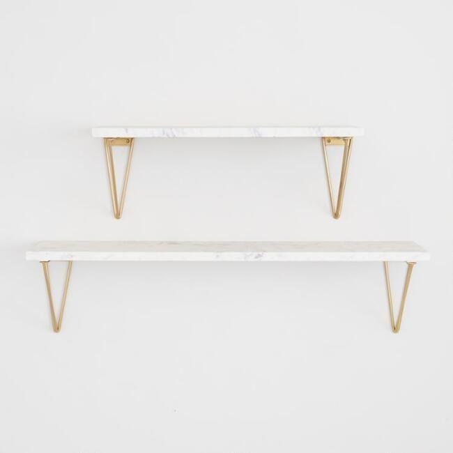 Geometric Gold Wire Mix Amp Match Shelf Brackets Set Of 2