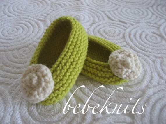 Lemongrass And Ivory Hand Knit Baby Ballet Slippers By Bebeknits
