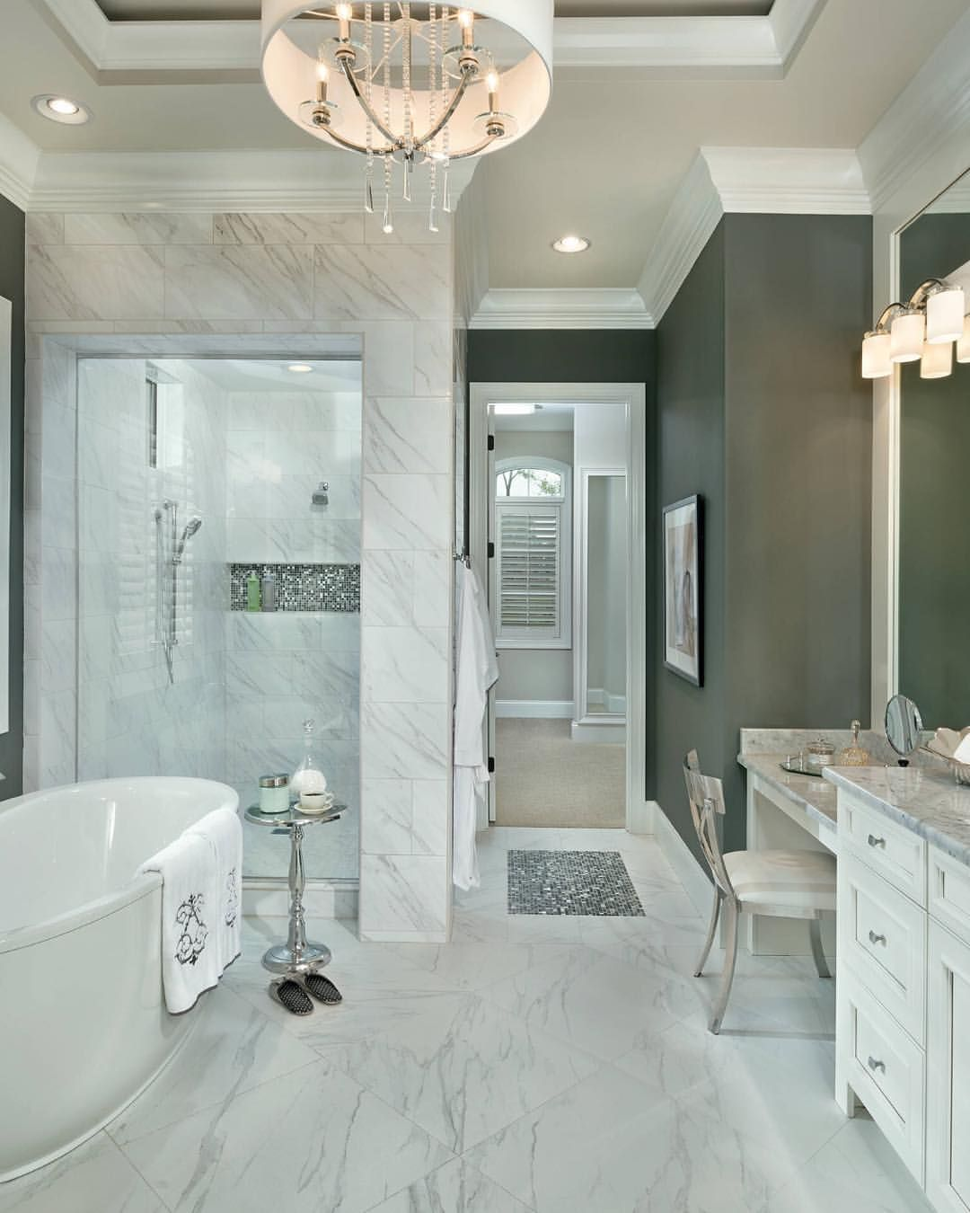13 Dreamy Bathroom Lighting Ideas: Stunning Bathroom Design. Wall Color Is Grizzle Gray By
