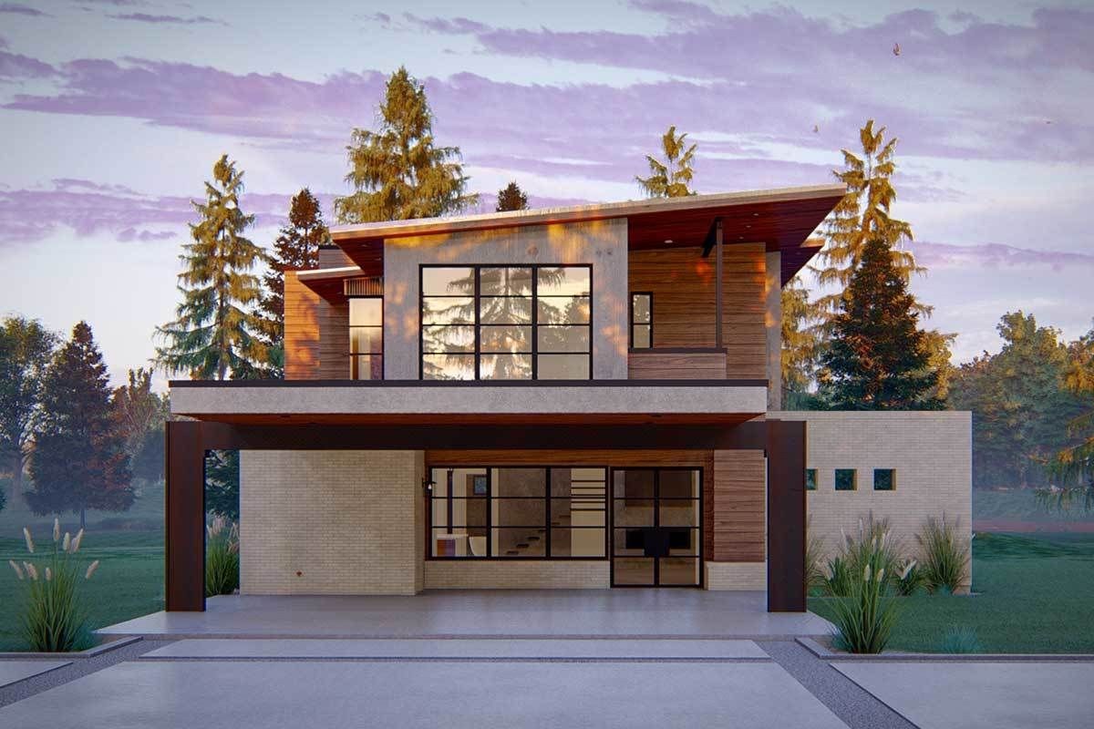 Plan 915036CHP: Modern House Plan With A Carport Plus A 4 Car Detached Garage