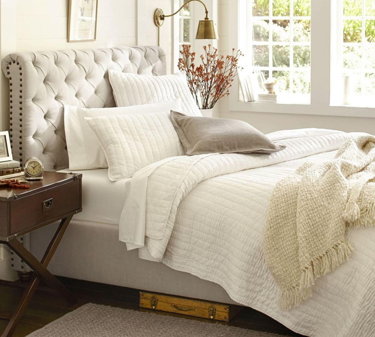 Chesterfield Upholstered Bed & Headboard Queen