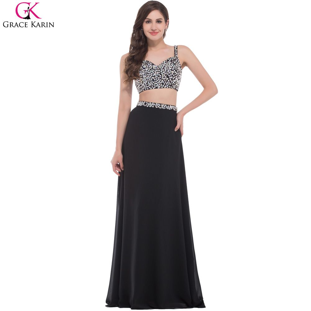 Click to buy ucuc grace karin sexy black two piece prom dress designer