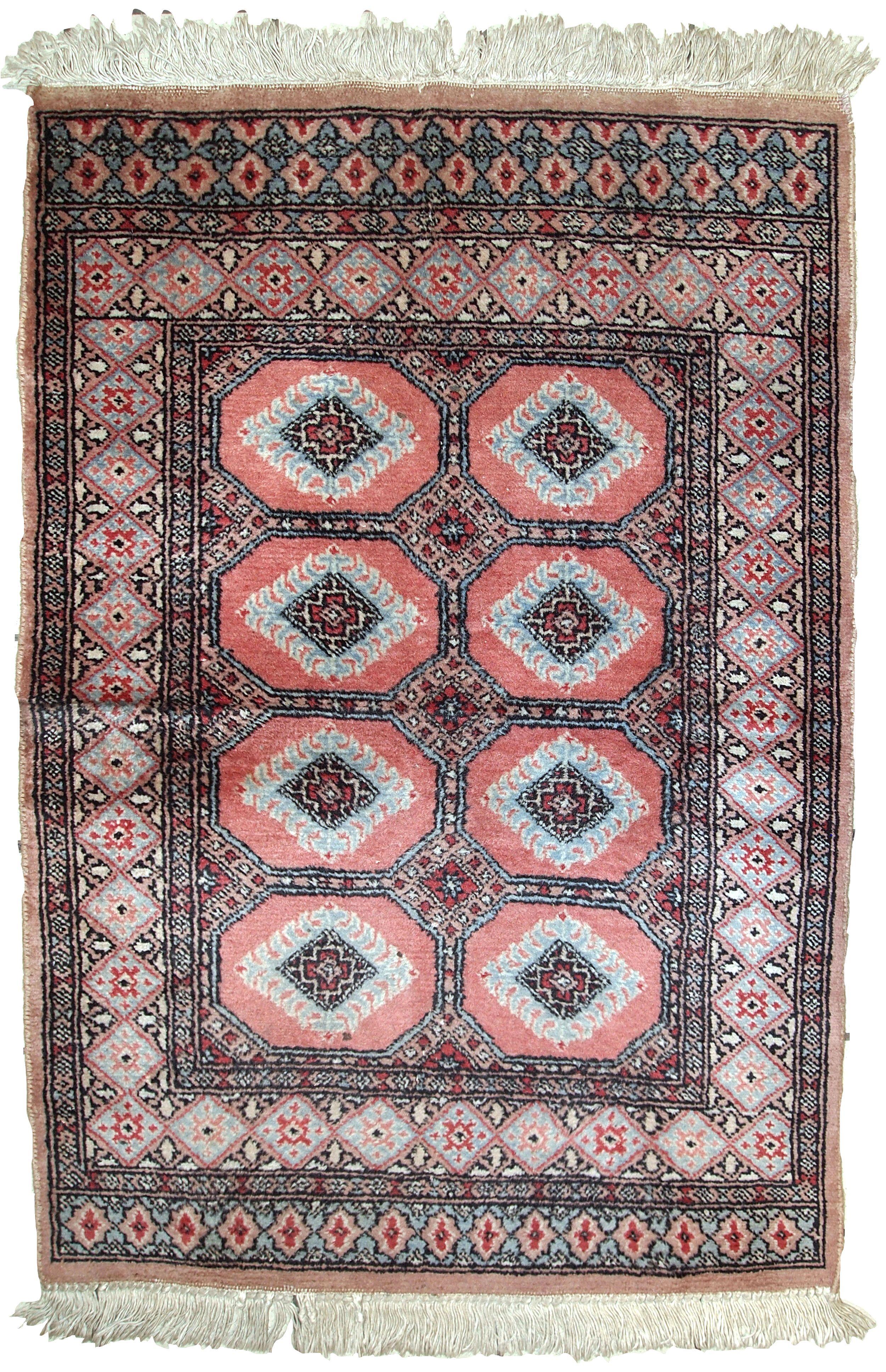 Handmade Vintage Uzbek Bukhara Rug In Pink Shade Of Wool Rugs Vintage Carpet Handmade