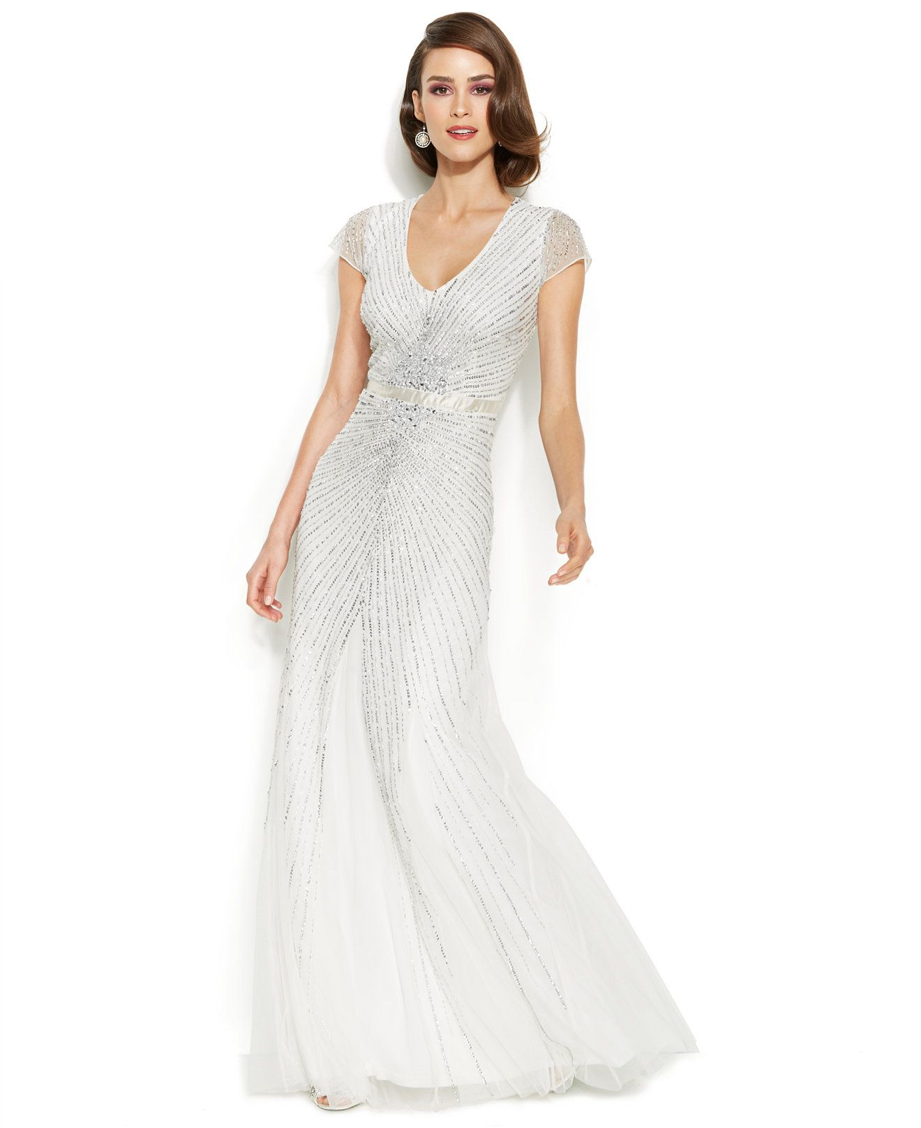 Adrianna Papell Wedding Gowns: Adrianna Papell Cap-Sleeve Embellished Sunburst Gown