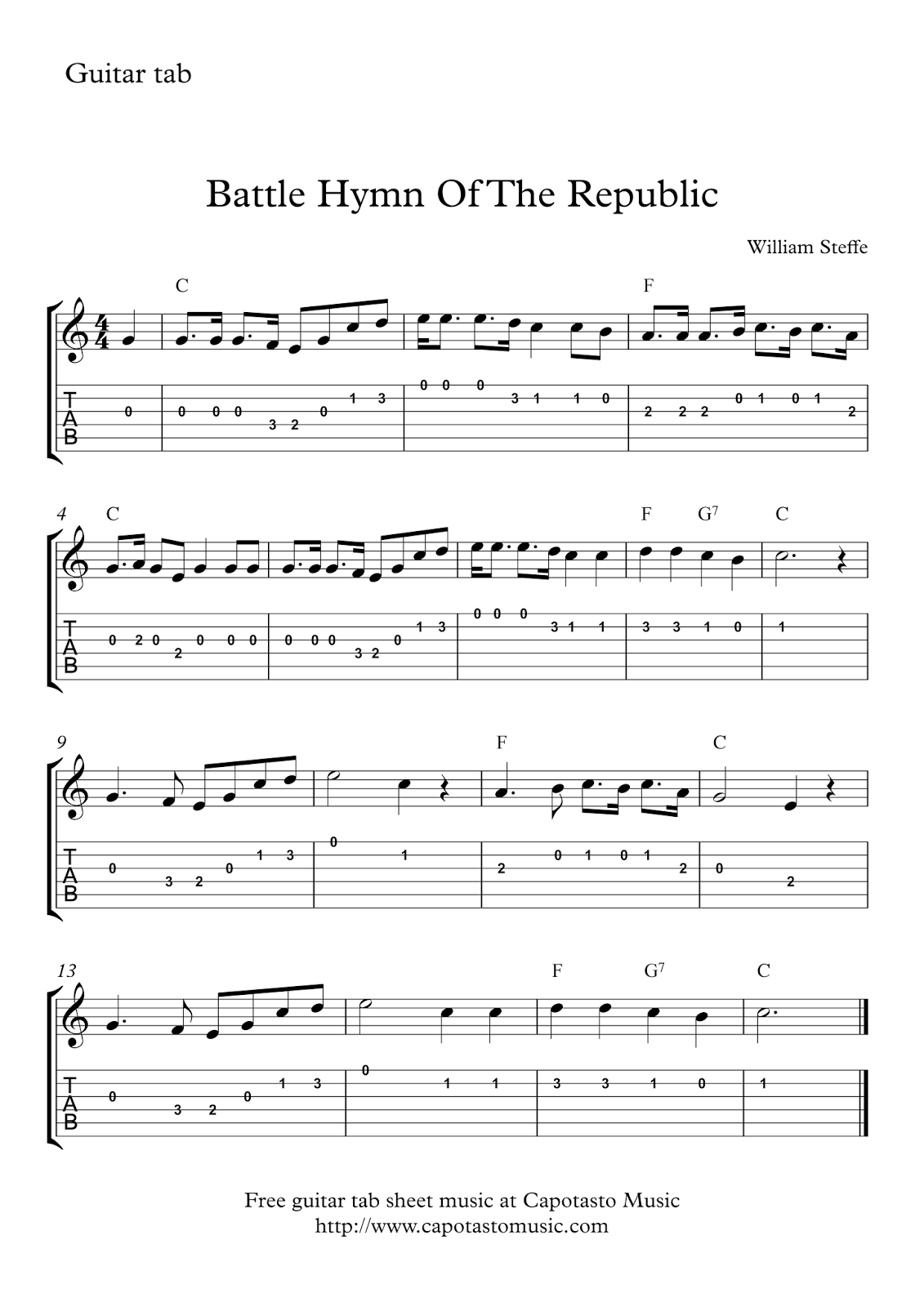 Battle Hymn Of The Republic Free Guitar Tab Sheet Music