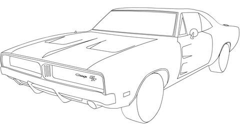 1969 Dodge Charger Rt Coloring Page