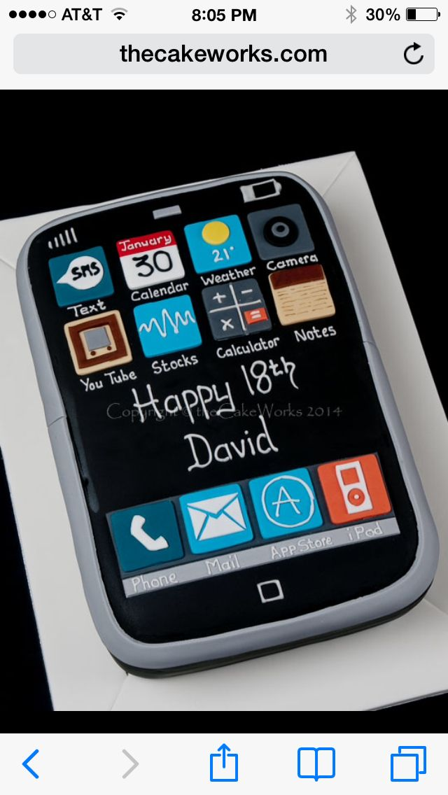 Cell phone Birthday cake Sweets Pinterest Birthday cakes