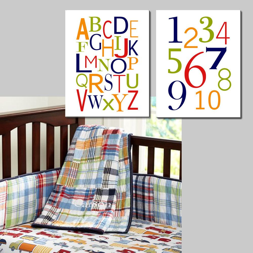 Alphabet and numbers set of two x prints modern kids wall art