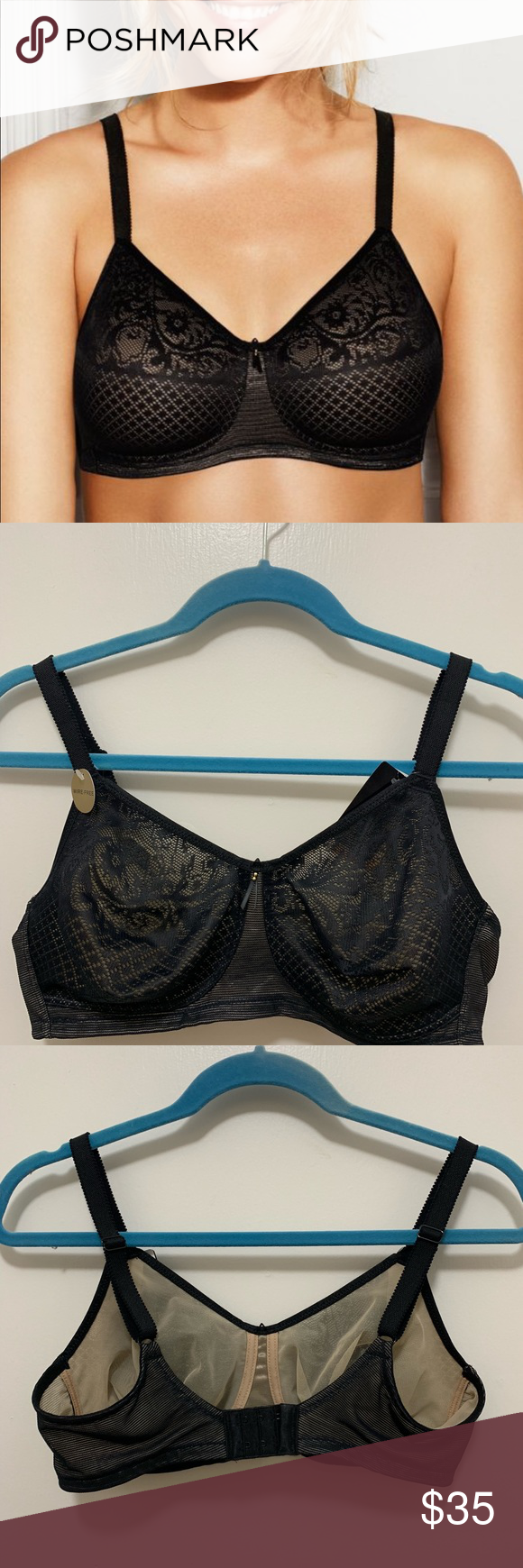 101e55282d7 Wacoal Visual Effects Wire Free Minimizer Bra Wacoal Visual Effects Wire  Free Minimizer Style 852210 Full Coverage Adjustable straps Color: Black  Wacoal ...