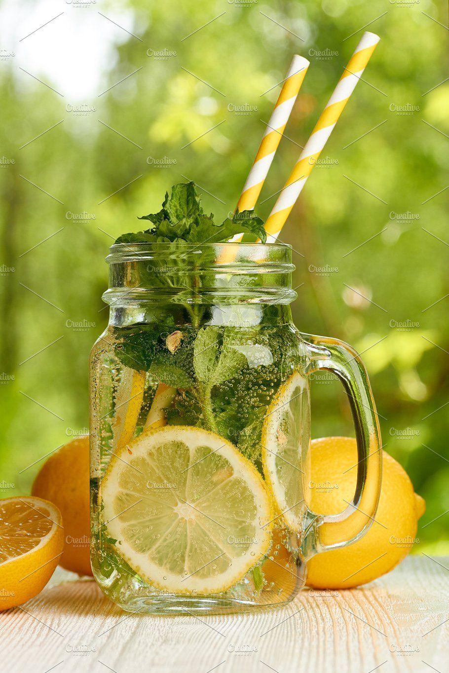 Fresh lemon and mint drink by Roberts & Irina Resnais on @creativemarket Fresh lemon and mint drink