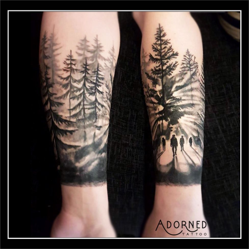 Black and grey forest scene tattoo by ivona iva tattoos