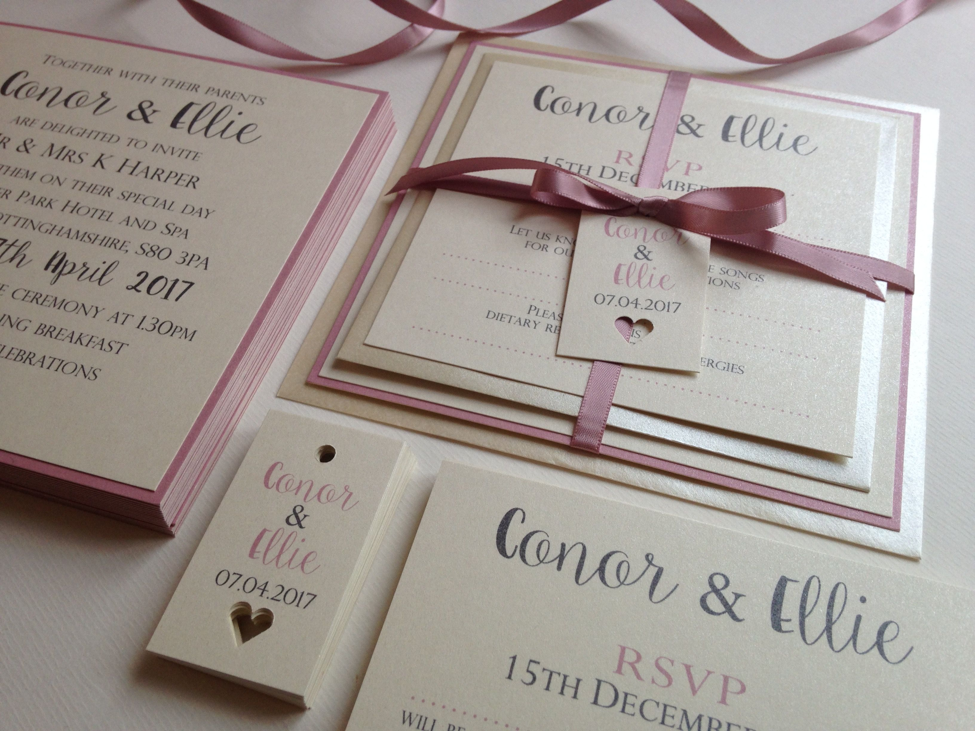 Cute wedding invitation with reply card all tied up with cameo